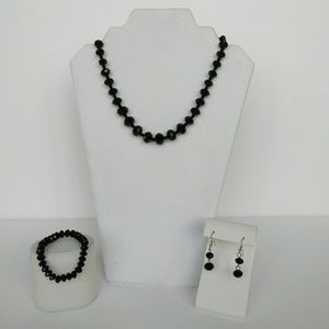 Black Faceted Bead Jewelry Set